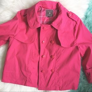 Hot Pink Cropped Trench Coat